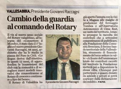 Cambio della guardia al Rotary