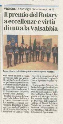 Il Premio del Rotary a eccellenze e virtù di tutta la Valle Sabbia