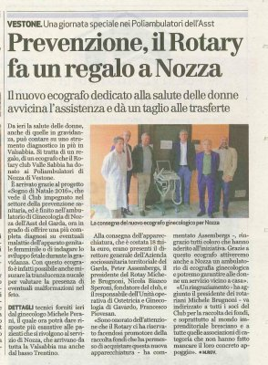 Prevenzione, il Rotary fa un regalo a Nozza