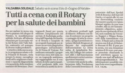 Tutti a cena con il Rotary per la salute dei bambini