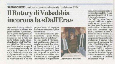 """Il Rotary Valsabbia incorona la """"Dall'Era"""""""