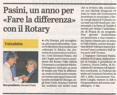 """Pasini, un anno per """"Fare la differenza"""" con il Rotary"""